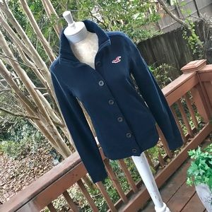Hollister Button Up Jacket w/Sweater Knit Collar